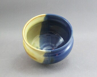 Pottery Small Bowl Yellow Salt & Aegean Blue FF18