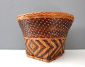 Natural and Dark Woven Rattan Planter / Storage Basket Boho Decor