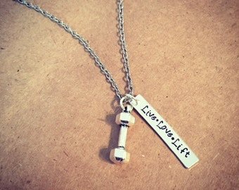 "Dumbbell ""Live. Love . Lift"" hand stamped necklace / Fitness jewelry / Strength necklace / Working out / Strong / Dumbell Dumbbell charm"
