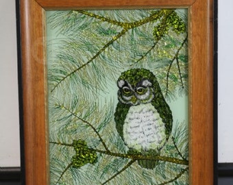 Reverse Owl Painting on Glass