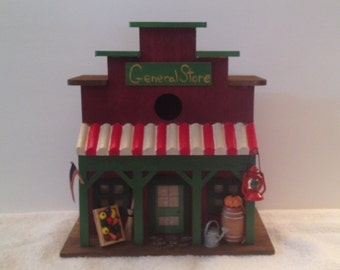 Old Fashioned General Store Birdhouse//Hand Painted//Miniatures//Green//Red