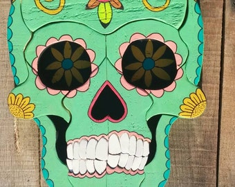 Colorful Day of the Dead Wooden Hand Painted Sugar Skull