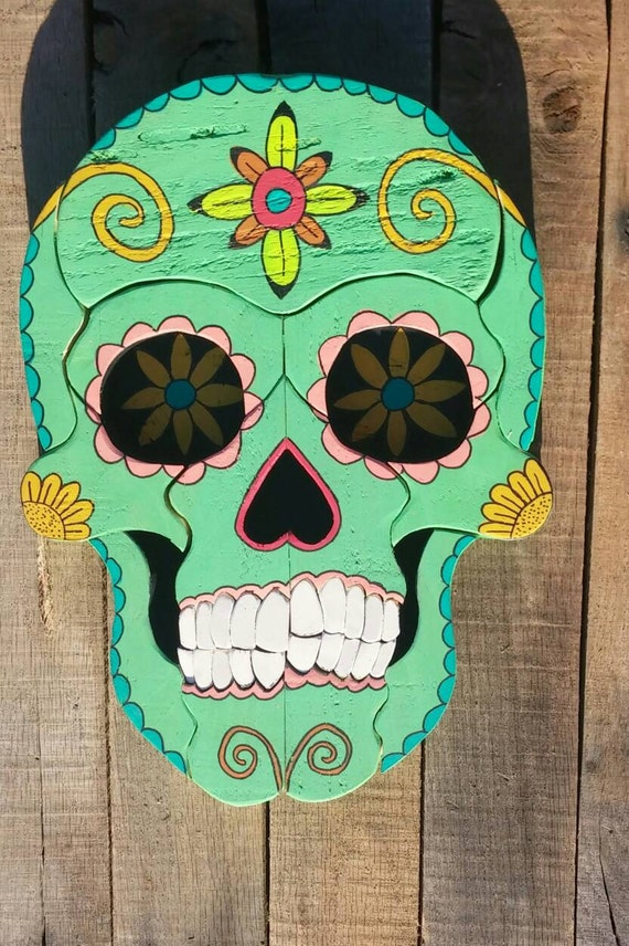 Day Of The Dead Hand Tattoo: Colorful Day Of The Dead Wooden Hand Painted Sugar Skull