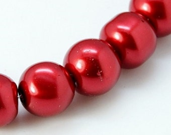 "Burgundy Red 6mm Round Glass Pearl Beads (32"" strand)"