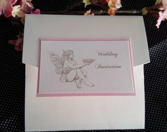 Beautiful Flower fairy princess pocket fold wedding vow renewal invitations with inserts