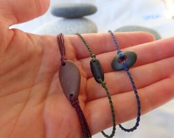 Adjustable macrame beach stone bracelet, micro-macrame woven bracelet, pebble stone bracelet, colorful simple bracelet, natural jewelry