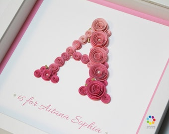 Paper Roses Nursery Decor | 3D Wall Art | Letters