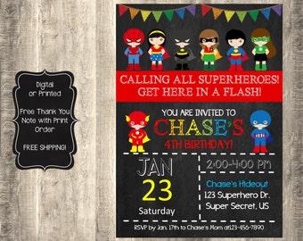 Superhero Birthday Invitation, Superhero Invitation, Superhero Invite, Superhero Birthday Invite, Superhero Chalkboard Invitation