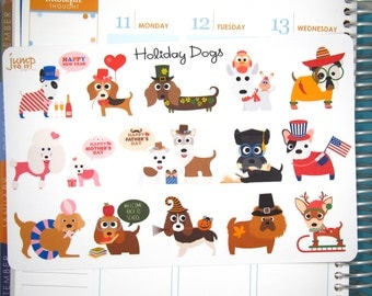 Holiday Dog stickers - for use with Erin Condren - New year's Valentine's St Patricks Mother's Fathers Day 4th July Halloween Thanksgiving