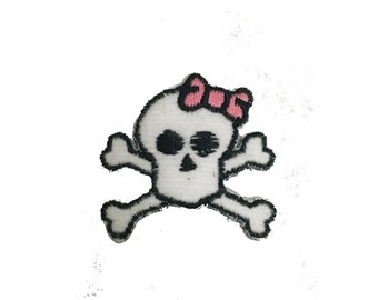 Vintage Girly Skull and Crossbones Patch