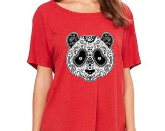 Sugar Skull Panda Day of Dead Slouchy Tee