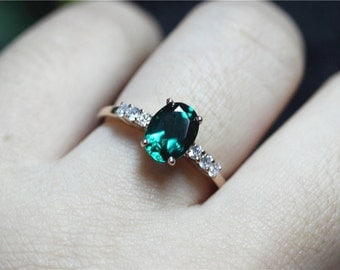 Vintage Emerald Ring Solid 14K Rose Gold 5x7mm Oval Cut Emerald Engagement Ring/Unique Emerald Wedding Ring/Anniversary Ring Promise Ring