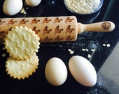 CHICKEN rolling pin, embossing rolling pin, engraved rolling pin by laser