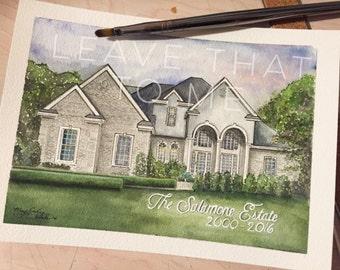 """5"""" x 7"""" Custom Watercolor House Rendering"""