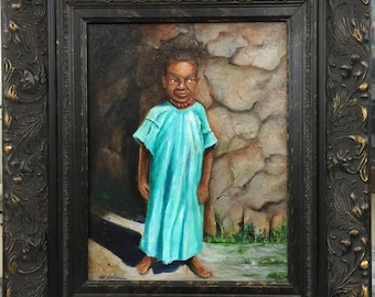 "gift , African painting "" The Children of Tanzania"", painting of Africa, Tanzania, original art, wall art,painting of children"