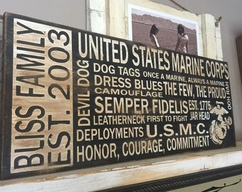United States Marine Corps Personalized Subway Style Distressed