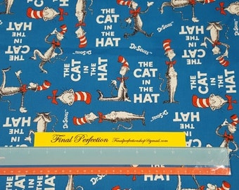 Cat in the Hat Fabric- Fabric by the Yard
