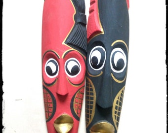 Wooden African Masks (Pair)