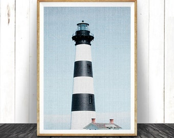 Lighthouse Photography Wall Art Print, Coastal, Nautical, Beach Home Decor, Large Printable Poster, Digital Download, Colour Photo