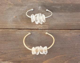 Quartz Crystal Bangle Bracelet