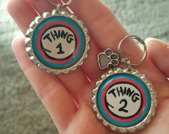 Custom-Dr Seuss-Dog Tags-Thing 1- Thing 2--Pet ID Tags-Funny Pet Tags-Silver tone-w/Free Charm
