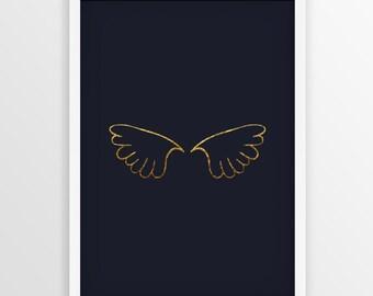 Navy Blue and Gold Angel Wings Art Printable, Gold Angel Wings Wall Art, Angel Wings Wall Decor, Gold Angel Artwork, Minimalist ,Nursery Art