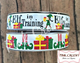 "7/8"" USDR Elf in Training Christmas Collection on white Grosgrain Ribbon / Christmas and Elf feet ribbon / Ribbon by the yard"