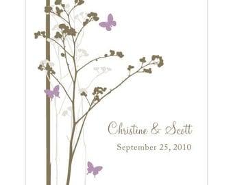 Romantic Butterfly Rectangular Label (24)- Lavender- Custom/Personalised