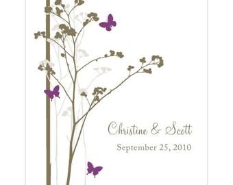 Romantic Butterfly Rectangular Label (24)- Plum- Custom/Personalised