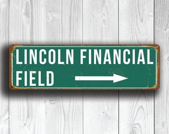 LINCOLN FINANCIAL Field Signs, Lincoln Financial Field Sign, Philadelphia Eagles, Football Gifts, Philadelphia Eagles decal, Sign