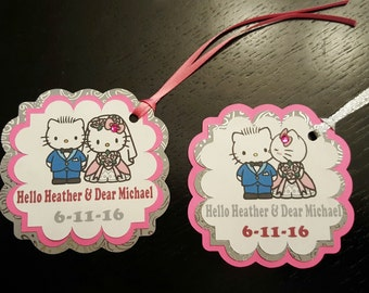 Pink and Blue Kitty Theme Bridal Shower Favor Tags