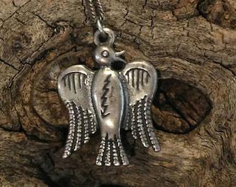 Vintage Southwestern Thunderbird Silver Necklace