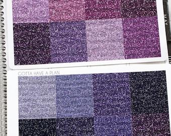 """Planner Stickers Purple Metallic """"Glitter"""" Headers for Erin Condren, Happy Planner, Filofax, Scrapbooking"""