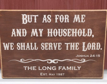 "Rustic Wood Sign - But As For Me And My Household - Joshua 24:15 - 12"" x 18"""