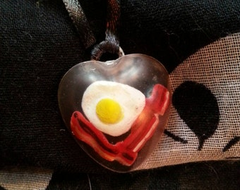 Bacon and Eggs Heart Resin Necklace