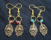Gold plated Boho tribal feather dangle earrings with turquoise stone bead\red czech beads.