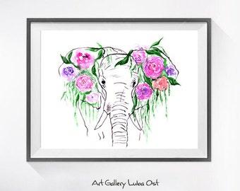 Elephant watercolor painting print, Elephant  and flowers art, animal art, illustration print, animal watercolor, animal portrait, painting