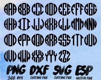 Circle Monogram Alphabet  Clipart , SVG Cutting , ESP Vectors files , T shirt , iron on , sticker ,Personal Use