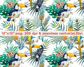 Watercolor tropical birds and plants seamless vector Clipart, Digital Download ,Quotes Scrapbooking, Supplies, Vectors files ,Personal Use