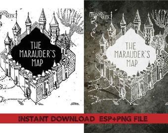marauder's map Clip Art,T shirt, iron on , sticker, Vectors files ,Personal Use