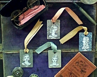 Bronte Sisters and Branwell Bookmark/Gift Tags Made With Laminate Samples