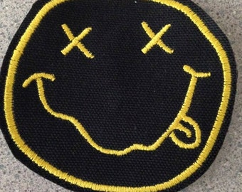 Nirvana patch, smiley face patch, grunge patch, Kurt Cobain, happy face patch, yellow smiley face, Teen Spirit, gift under 10