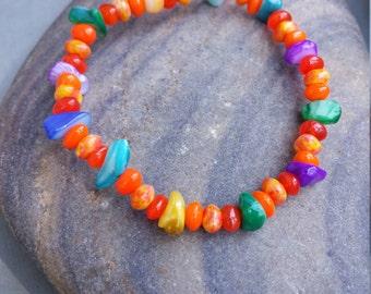 Orange Swirl Glass Multi-Color Shell Stretch Bracelet