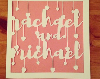 Valentines / Wedding personalised papercut card