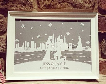 Place of Engagement Personalised Papercut
