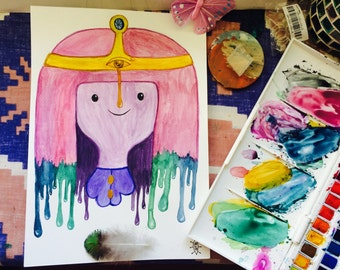 Princess Bubblegum from Adventure Time Trippy Drippy A4 Watercolour Portrait