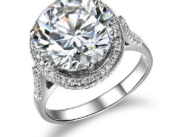 5ct solitaire synthetic simulated diamond man made engagement promise ring for her