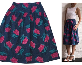 Cotton Rose Print Skirt Blue Green Mid-length