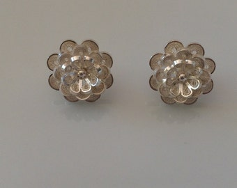 Silver - Handmade Sterling Silver 950 - Filigree Earrings From Colombi