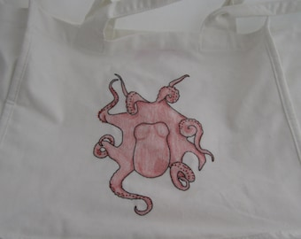 Embroidered Red Octopus Tote Bag